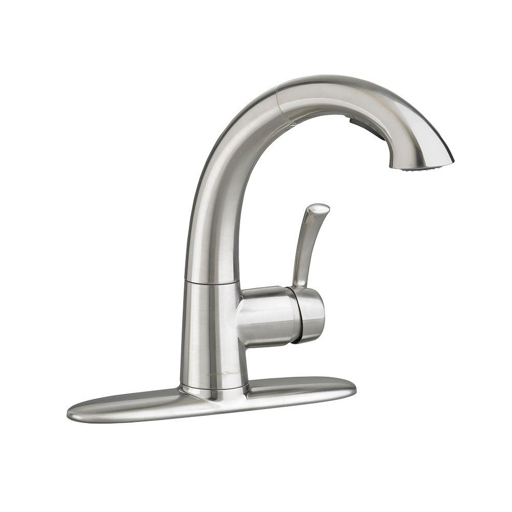 kitchen faucets stainless steel pull out american standard quince single handle pull out sprayer 24694