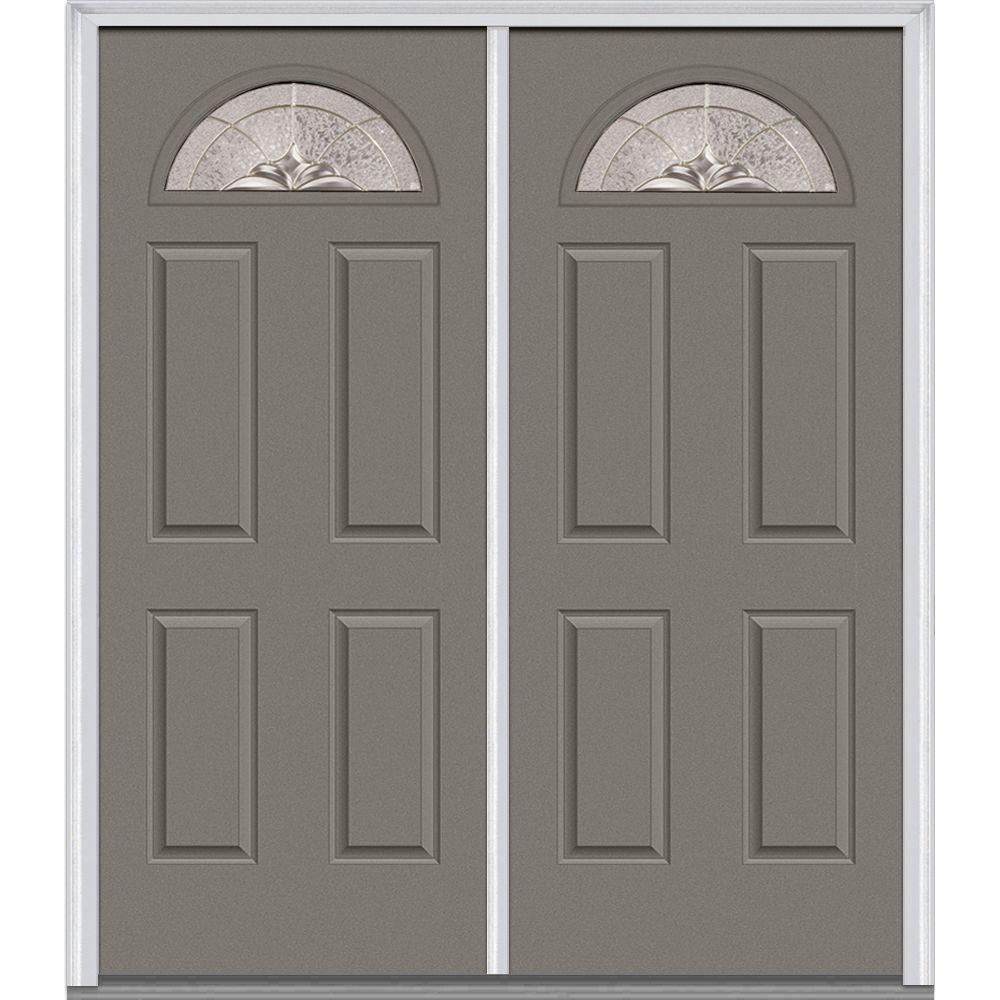 Milliken Millwork 66 in. x 81.75 in. Heirloom Master Decorative Glass 1/4 Lite Painted Majestic Steel Exterior Double Door