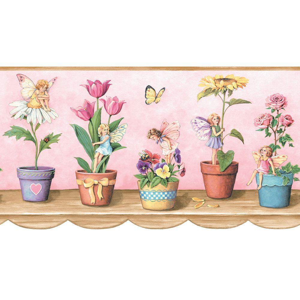 The Wallpaper Company 8 in. x 10 in. Pink Fairy Border Sample