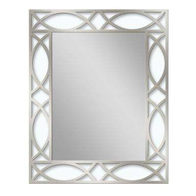 24 in. W x 30 in. H Metal Scroll Etched Wall Mirror in Brush Nickel