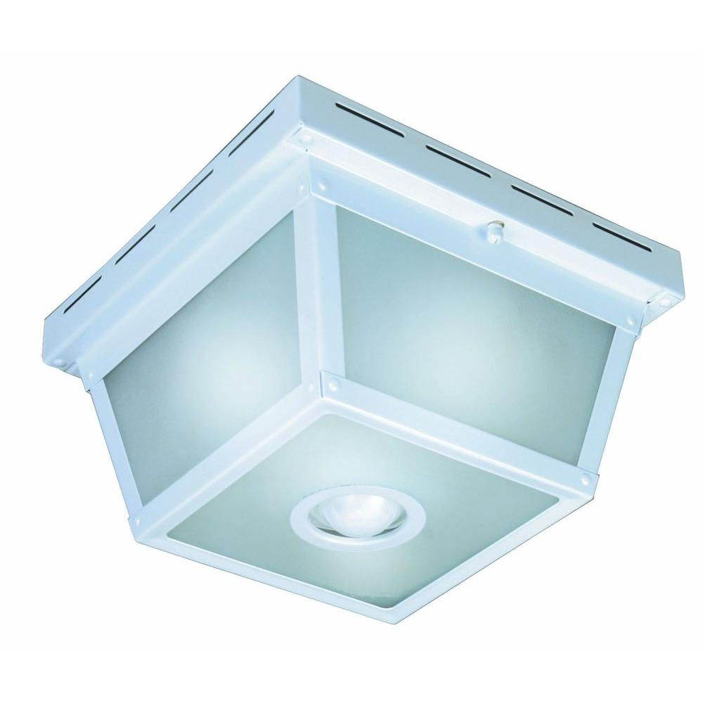 Hampton Bay 360 Degree Square 4-Light White Motion Sensing Outdoor ...
