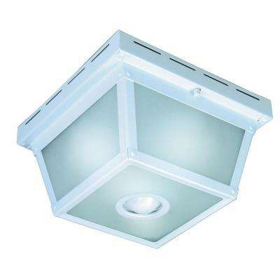 360 Degree Square 4-Light White Motion Sensing Outdoor Flush Mount
