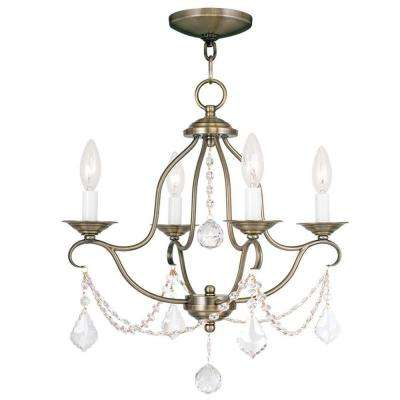 Providence 4-Light Antique Brass Incandescent Ceiling Mini Chandelier