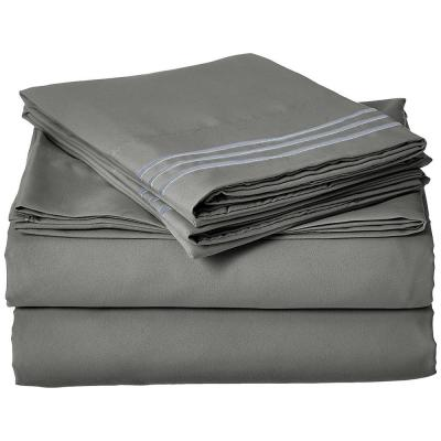 1500 Series 4-Piece Gray Triple Marrow Embroidered Pillowcases Microfiber King Size Bed Sheet Set