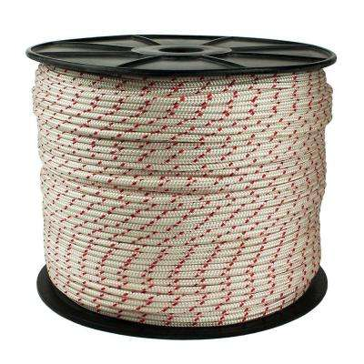 1/4 in. x 1300 ft. Diamond Braid Polypropylene Rope, White/Red