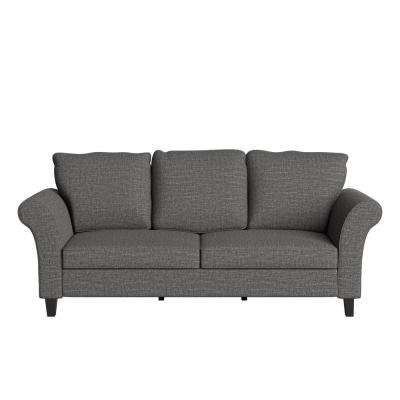 Brickman 82.9 in. Charcoal Gray Fabric 2-Seater Lawson Sofa with Removable Cushions
