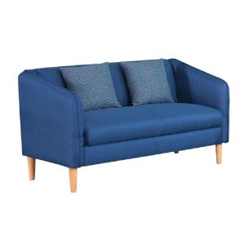 Blue Linen Fabric Loveseat With Wood Leg