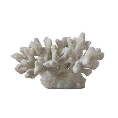 Waterside 18-1/4 in. x 8 in. White Agglomerated Stone Resin Coral Decor