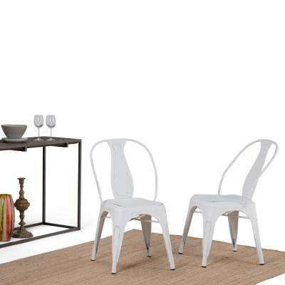 Merritt Distressed White Metal Dining Arm Chair (Set of 2)
