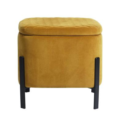 Ottoman Footrest Yellow Square Tufted Storage