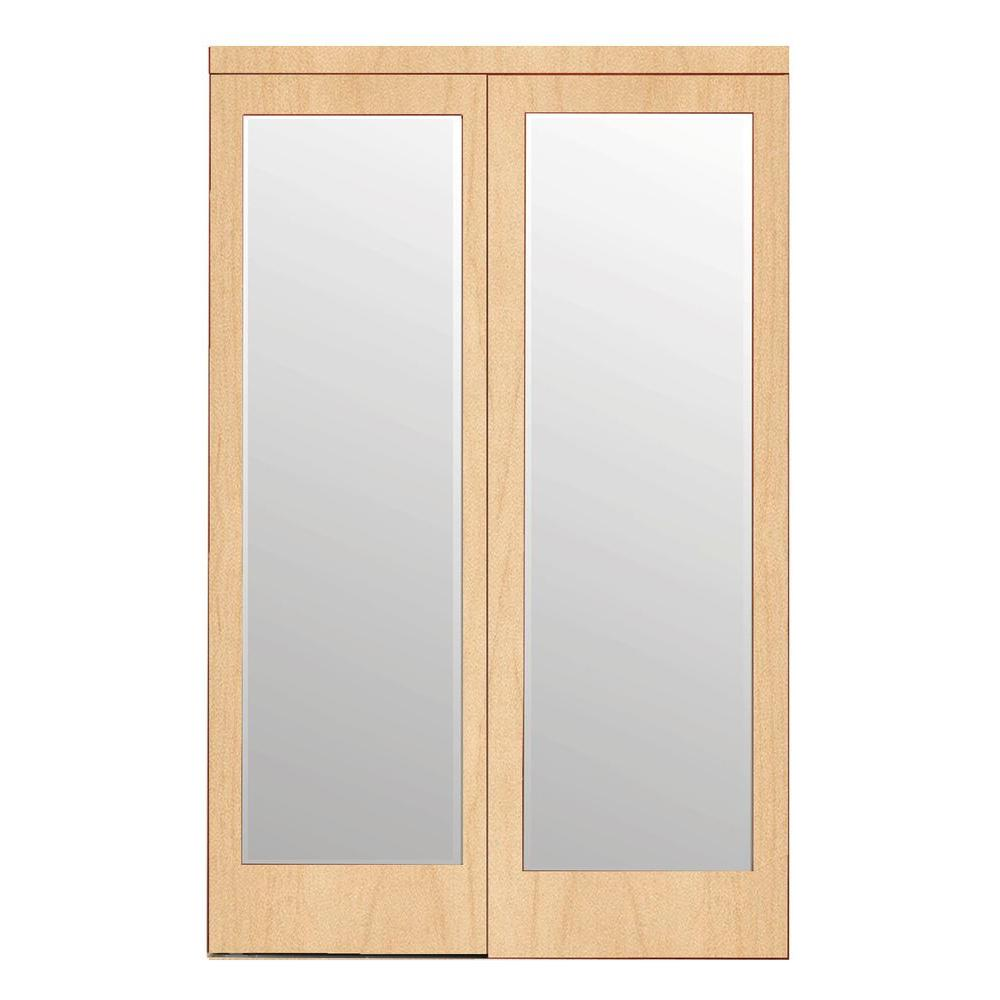 48 in. x 80 in. Mir-Mel Mirror Stain Grade Maple Solid
