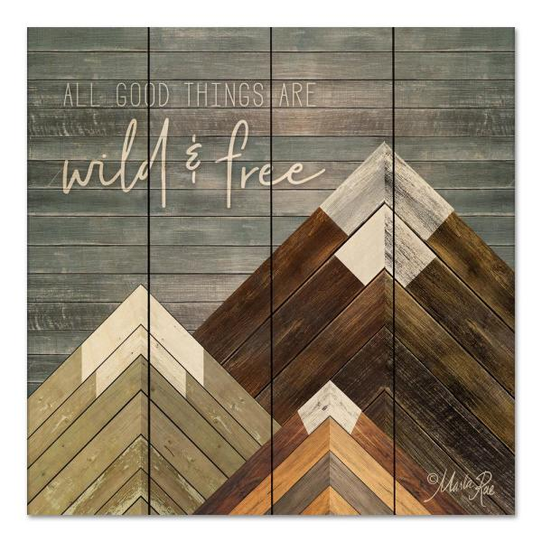 Wild and Free Unframed Nature Wood Pallet Art Print 12 in ...