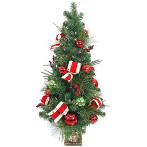 pre lit led jolly artificial christmas porch tree with 50 battery operated warm white lights chzh17616101thy the home depot - Porch Christmas Tree
