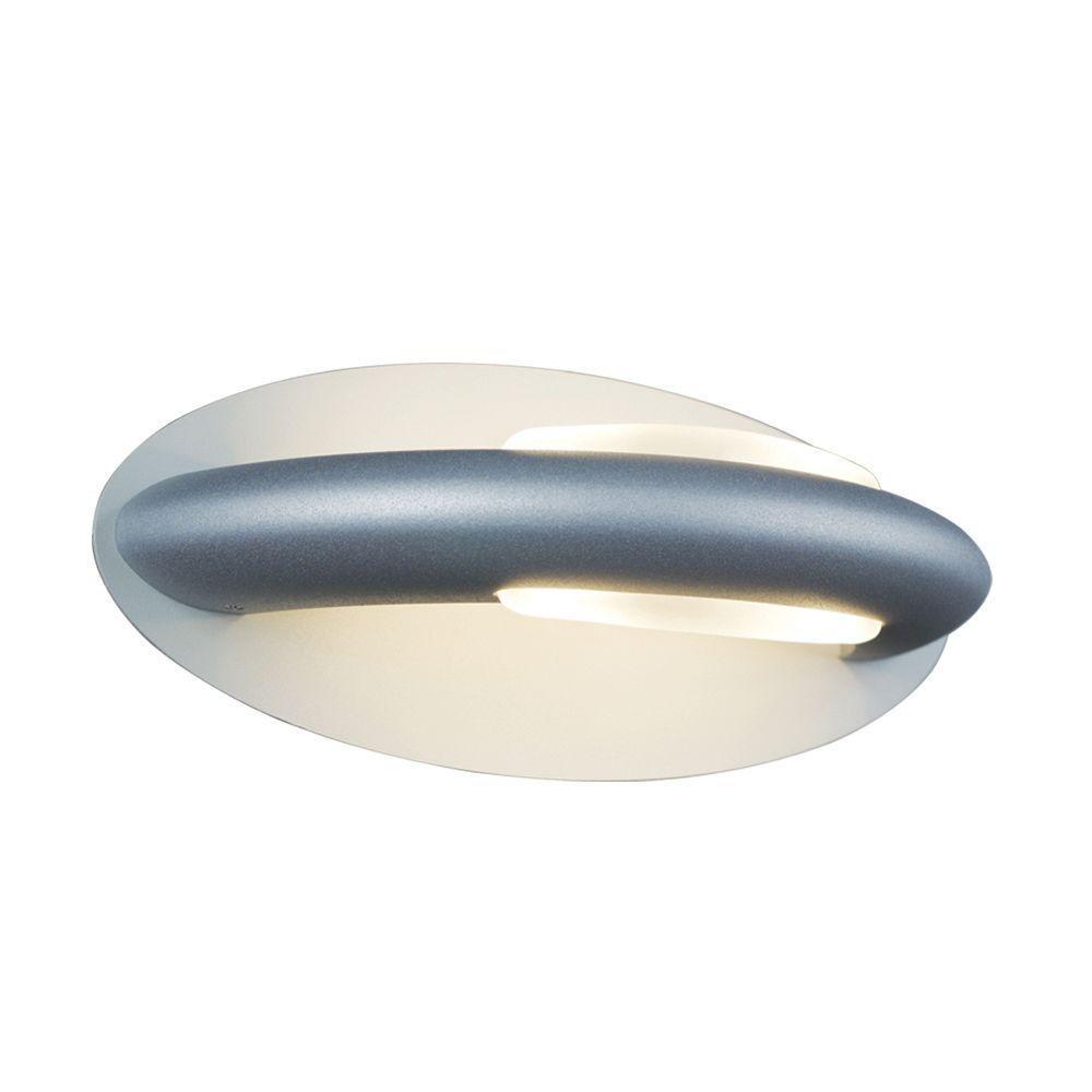 JESCO Lighting 2-Light Matte Aluminum Semi-Circular Wall Sconce with Oval Backplate