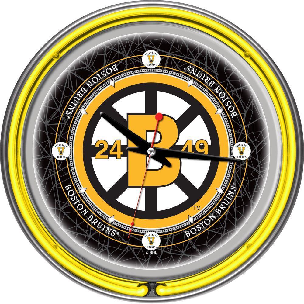 14 in. Vintage Boston Bruins NHL Neon Wall Clock-NHL1400-BBV - The ...