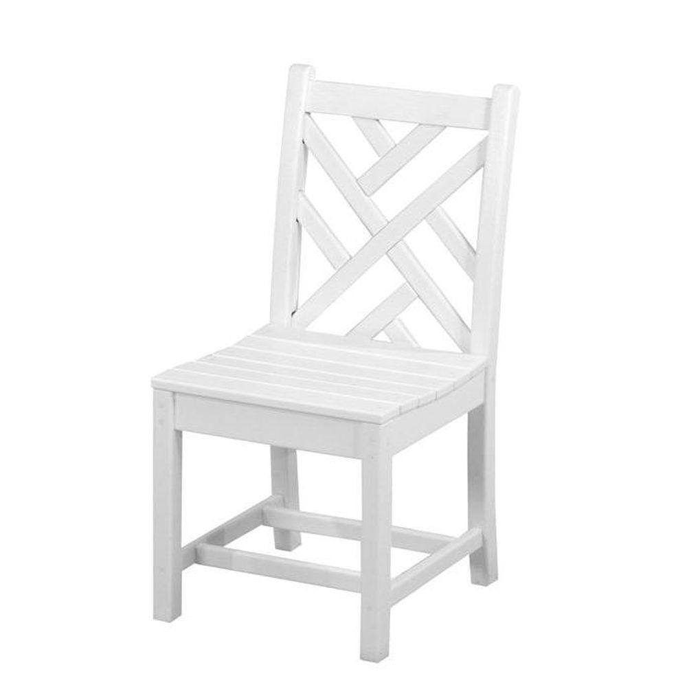 Sensational Polywood Chippendale White All Weather Plastic Outdoor Dining Side Chair Theyellowbook Wood Chair Design Ideas Theyellowbookinfo