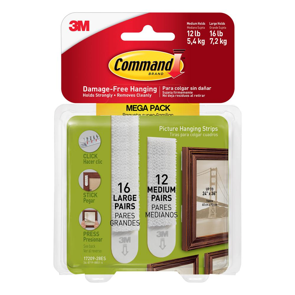 Command White 16-Large and 12-Medium Size Adhesive Picture Hanging Strips Mega-Pack (28-Pairs/Pack)