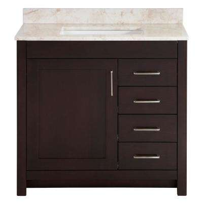 Westcourt 37 in. W x 22 in. D Bath Vanity in Chocolate with Stone Effect Vanity Top in Dune with White Sink