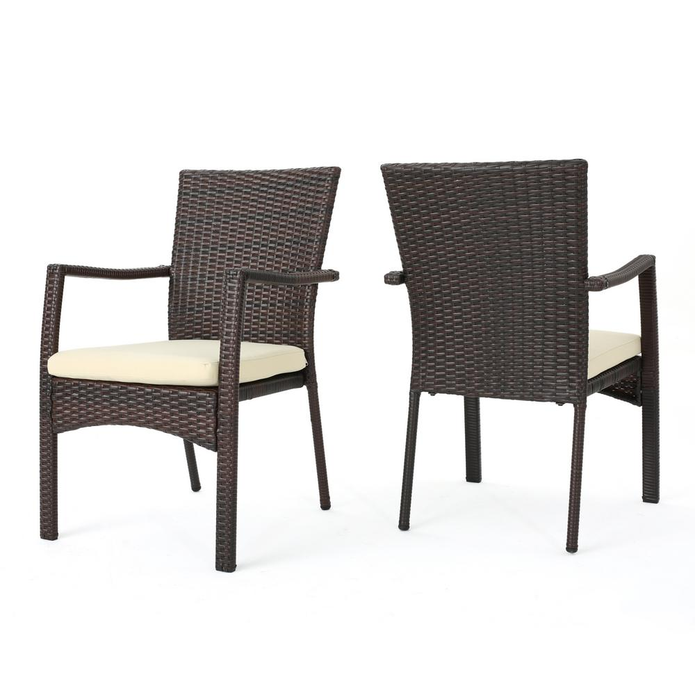 Groovy Noble House Corsica Multi Brown Wicker Outdoor Dining Chairs With Cream Cushions Set Of 2 Creativecarmelina Interior Chair Design Creativecarmelinacom