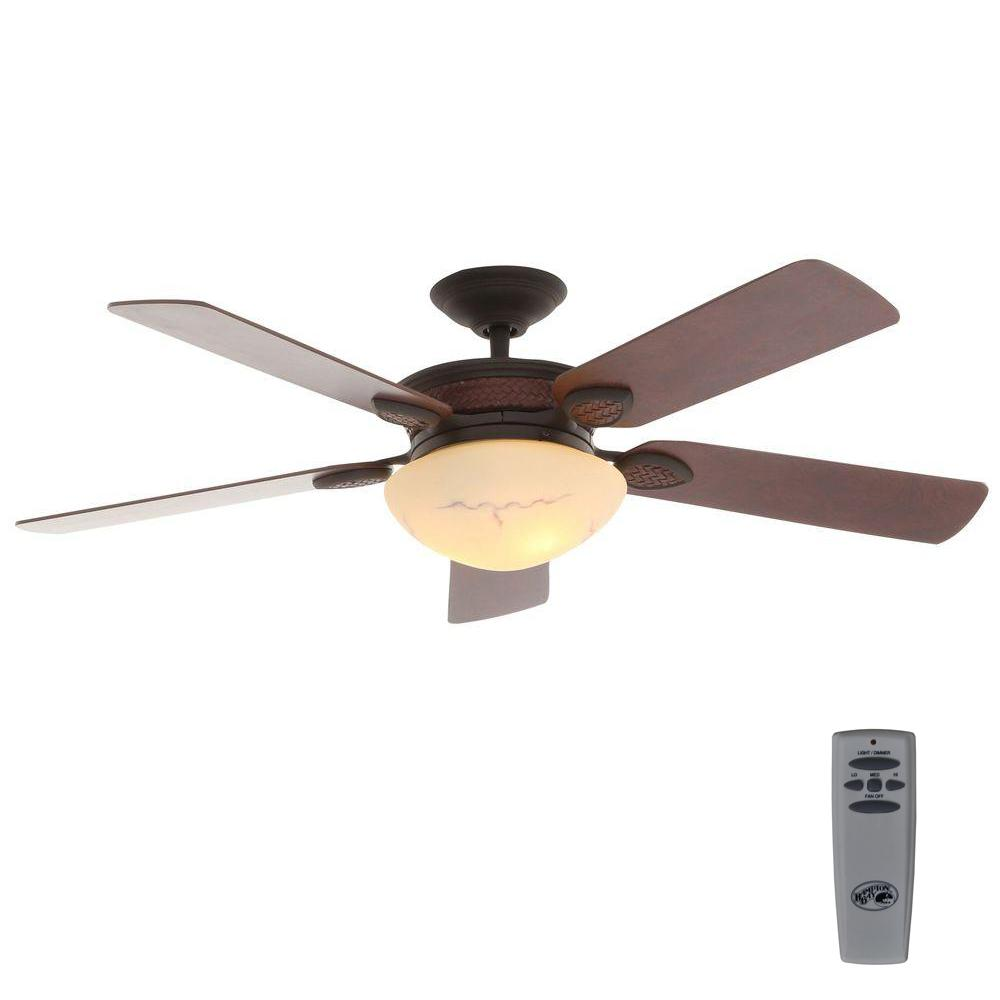 Hampton Bay San Lorenzo 52 in. Indoor Rustic Ceiling Fan with Light Kit and Remote Control
