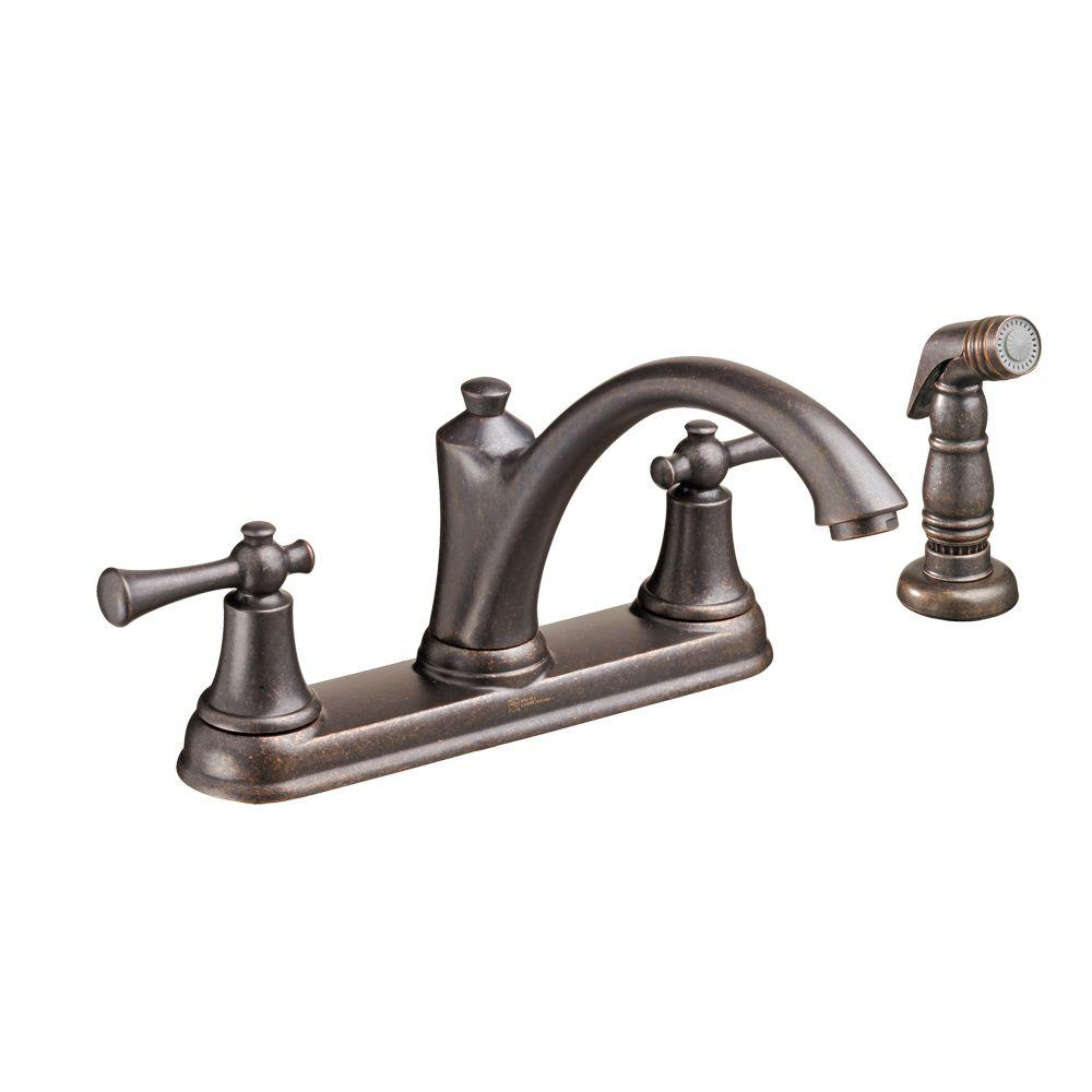 Portsmouth 2-Handle Standard Kitchen Faucet with Side Sprayer in Oil Rubbed