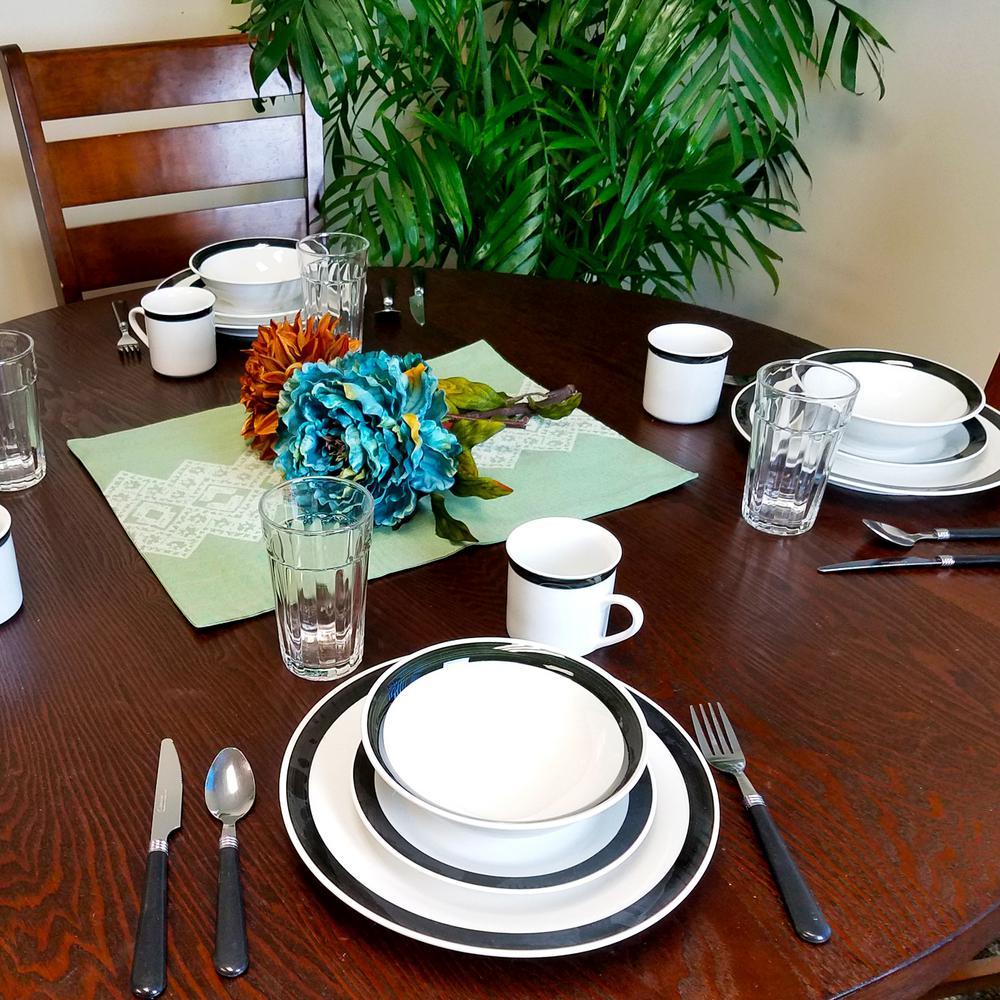 Total Kitchen Essex 32-Piece Casual White Stone Dinnerware Set (Service for 4)