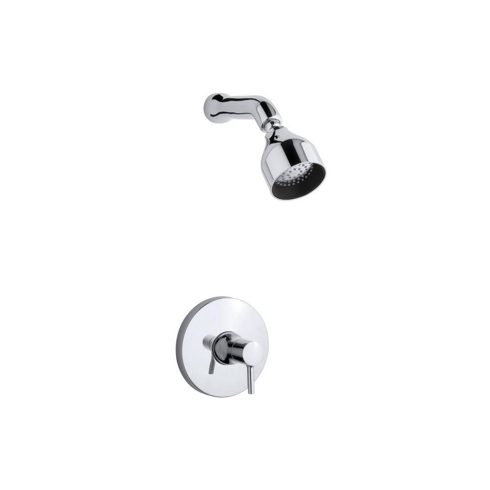 KOHLER Toobi 1-Spray 6.5 in. 2.0 GPM Fixed Showerhead with Lever Handle in Polished Chrome