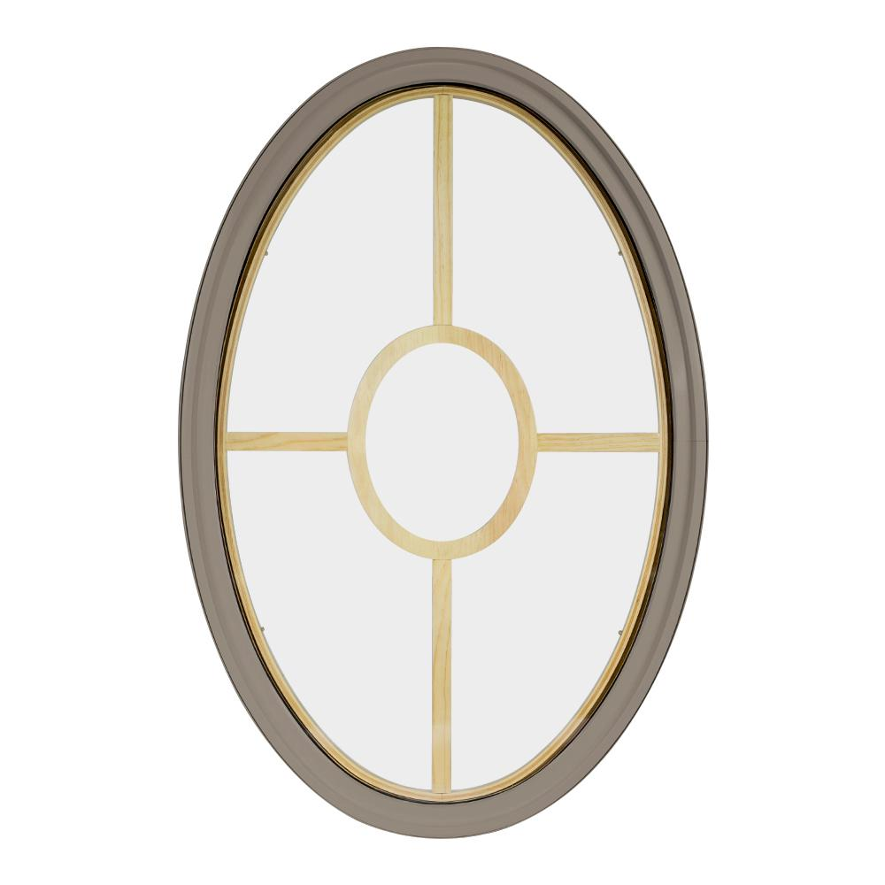 Frontline 30 In X 48 In Oval Sandstone 6 9 16 In Jamb 5 Lite Grille Geometric Aluminum Clad Wood Window 3048ov65ligsd The Home Depot