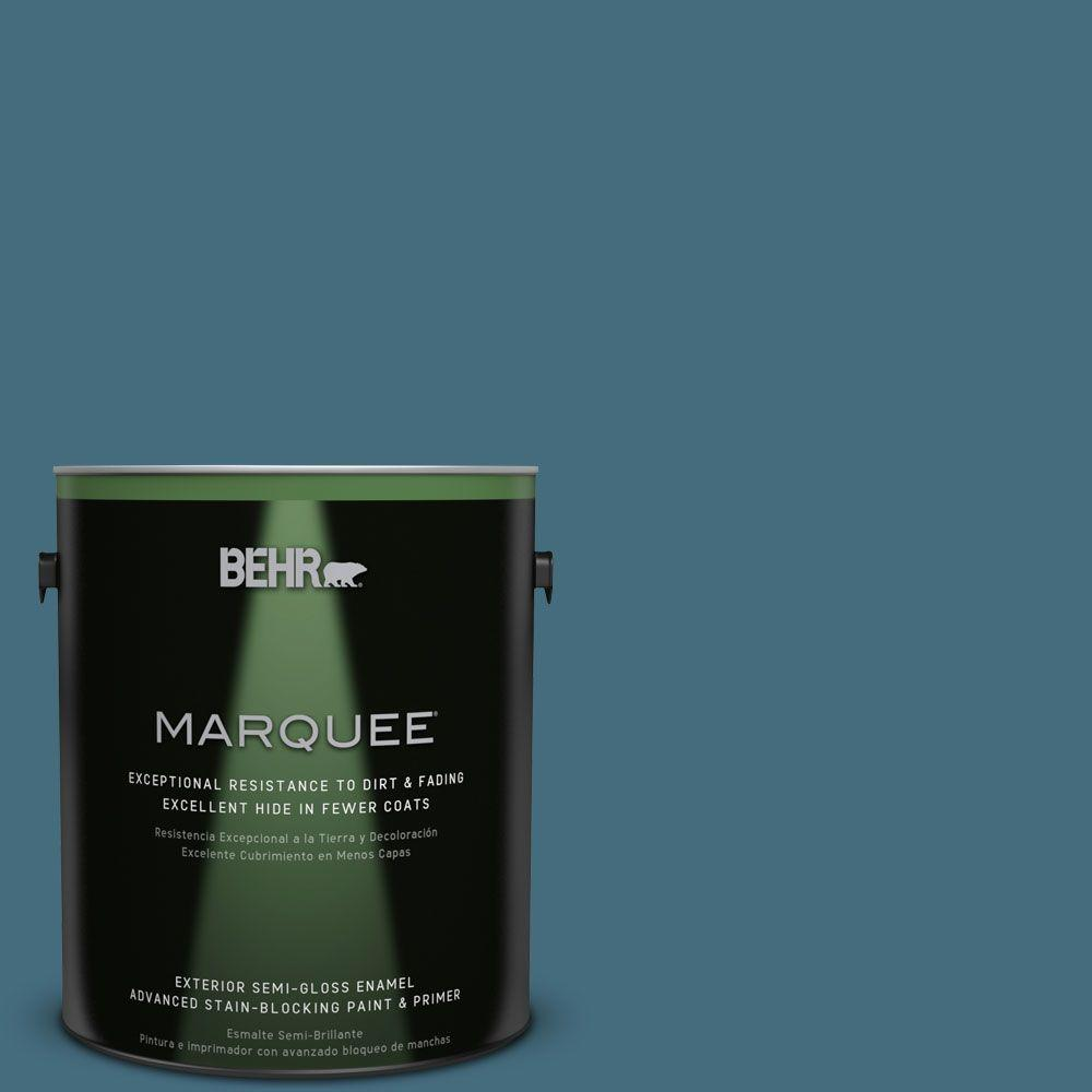 BEHR MARQUEE 1-gal. #S480-6 Poseidon Semi-Gloss Enamel Exterior Paint