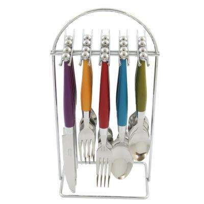 Casbah 20-Piece Assorted Colors Flatware Set