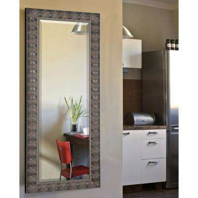 27 in. x 65 in. Feathered Accent Rounded Beveled Vanity Full Body Mirror