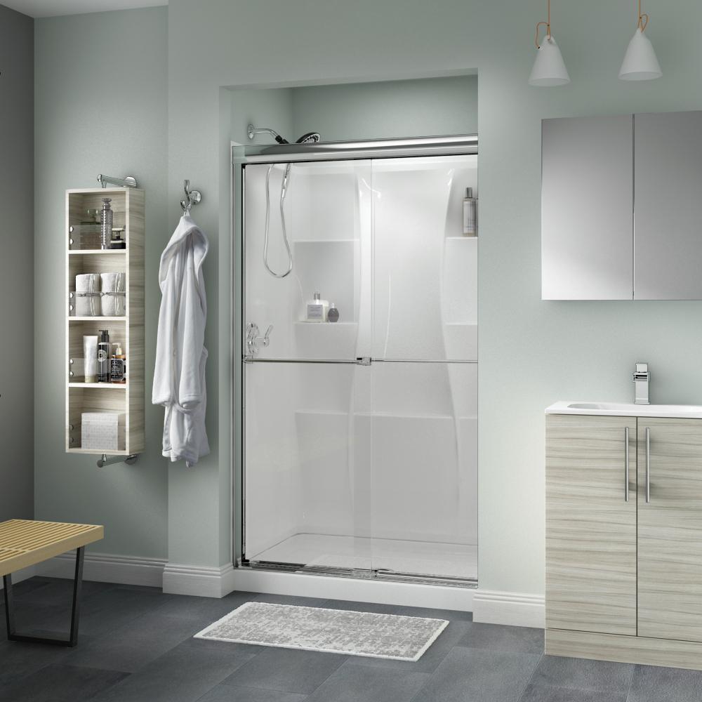 Delta 48 In X 72 In Semi Framed Sliding Shower Door In
