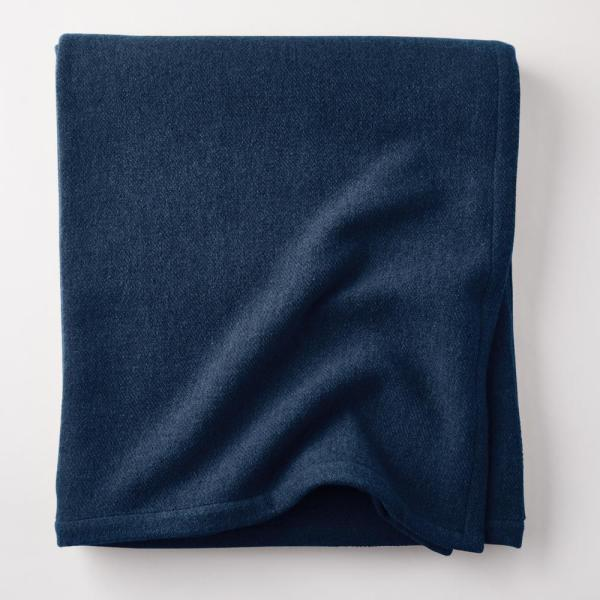 Lambswool Solid Midnight Blue Twin Woven Blanket