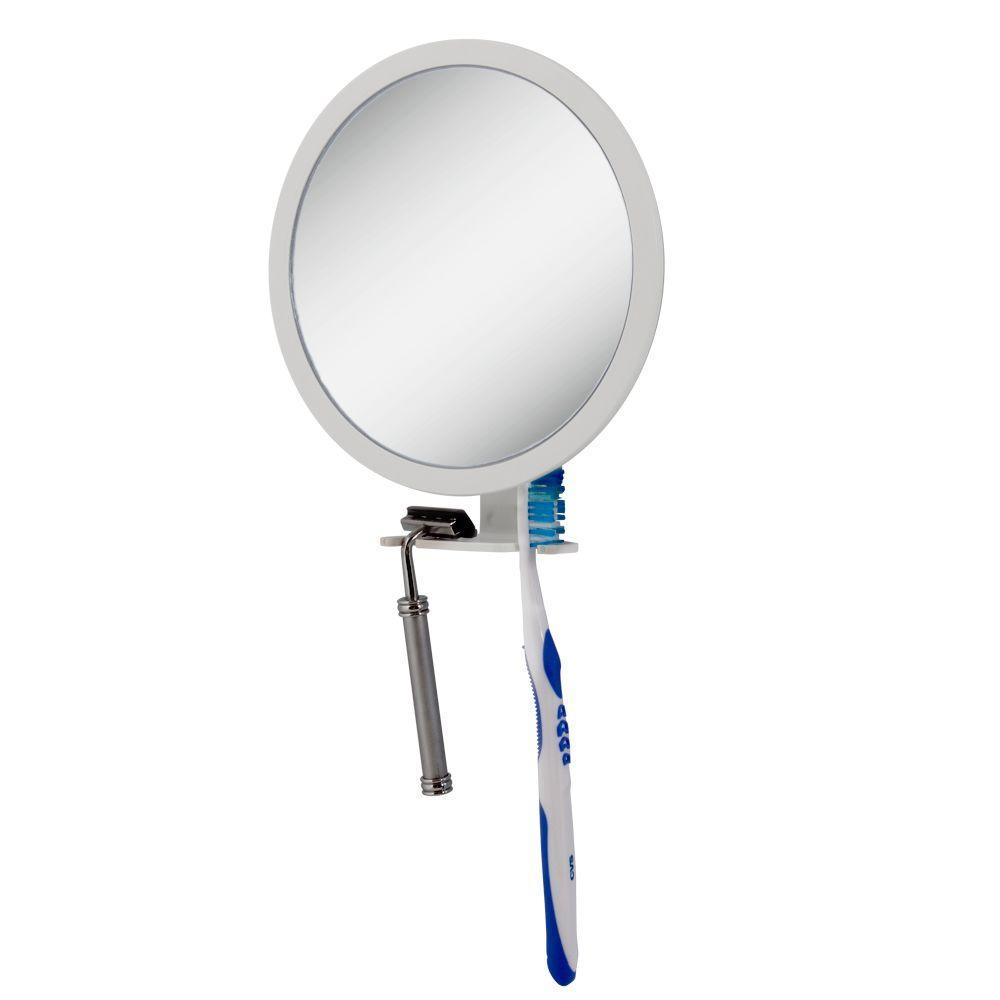 Zadro 6.75 in. x 8.5 in. 5X-1X Adjustable Magnification Fogless Mirror in White