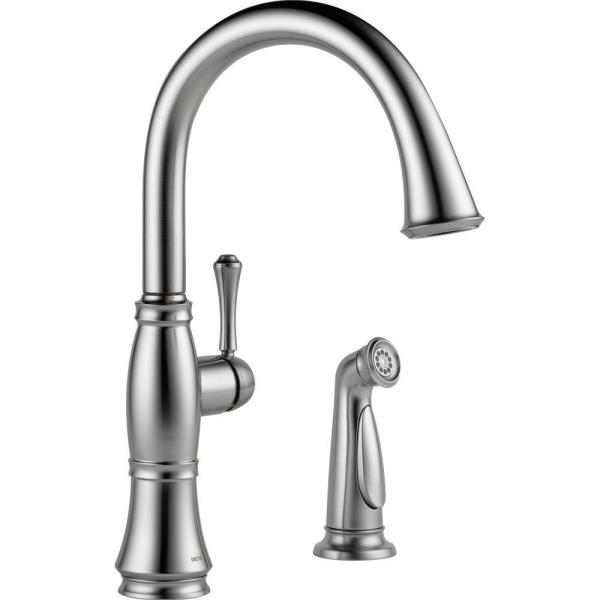 Delta Cassidy Single Handle Standard Kitchen Faucet With Side Sprayer In Arctic Stainless 4297 Ar Dst The Home Depot