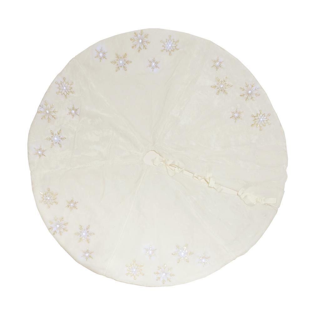 56 In Snowflake Sequin Soft Plush Furry Light Up Round Christmas Tree Skirt White