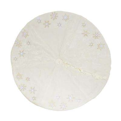 56 in. Snowflake Sequin Soft Plush Furry Light Up Round Christmas Tree Skirt in White