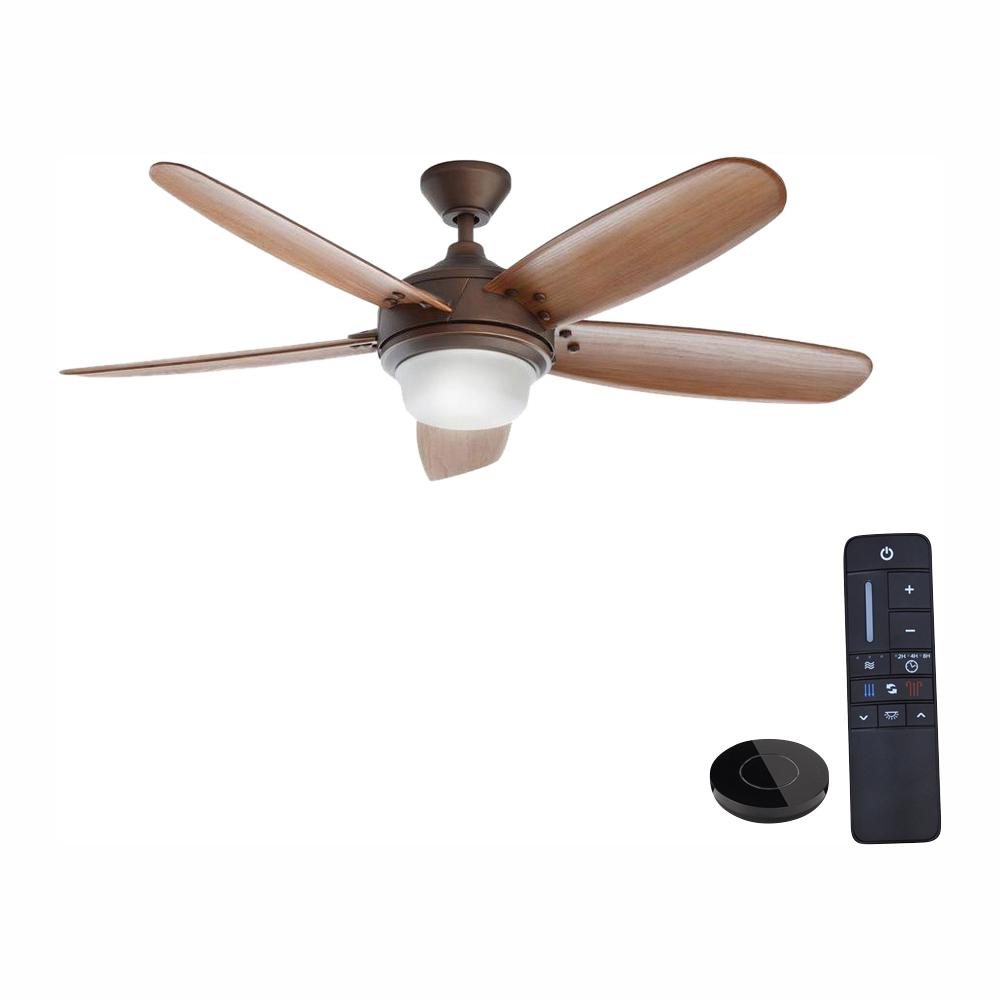 HomeDecoratorsCollection Home Decorators Collection Breezmore 56 in. LED Mediterranean Bronze Ceiling Fan with Light Kit Works with Google Assistant and Alexa