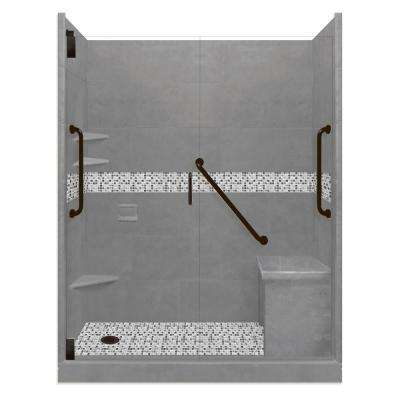 Del Mar Freedom Grand Hinged 34 in. x 60 in. x 80 in. Left Drain Alcove Shower Kit in Wet Cement and Black Pipe Hardware