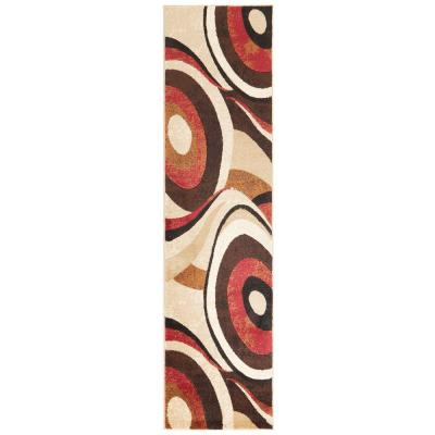 Tribeca Brown/Red 2 ft. x 6 ft. Indoor Runner Rug