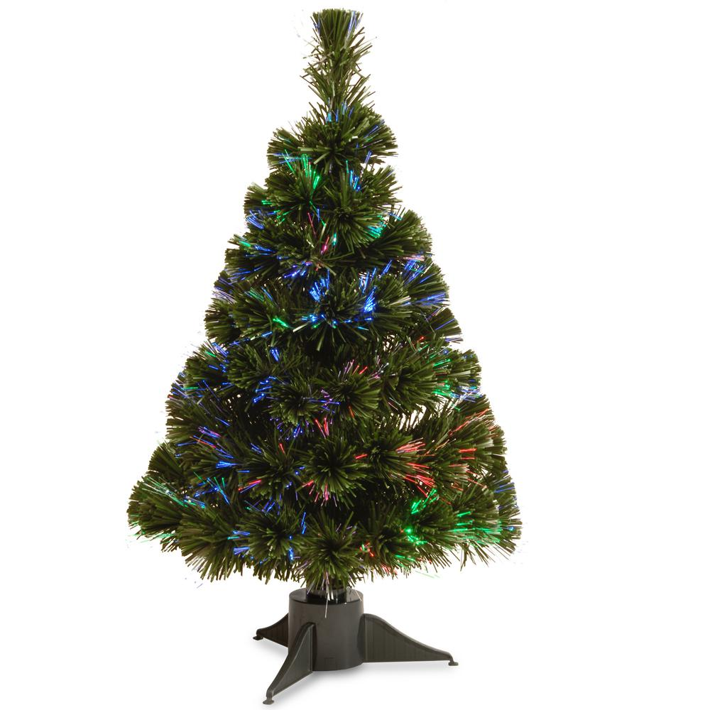 National Tree 2 ft. Battery Operated Fiber Optic Ice Tree...