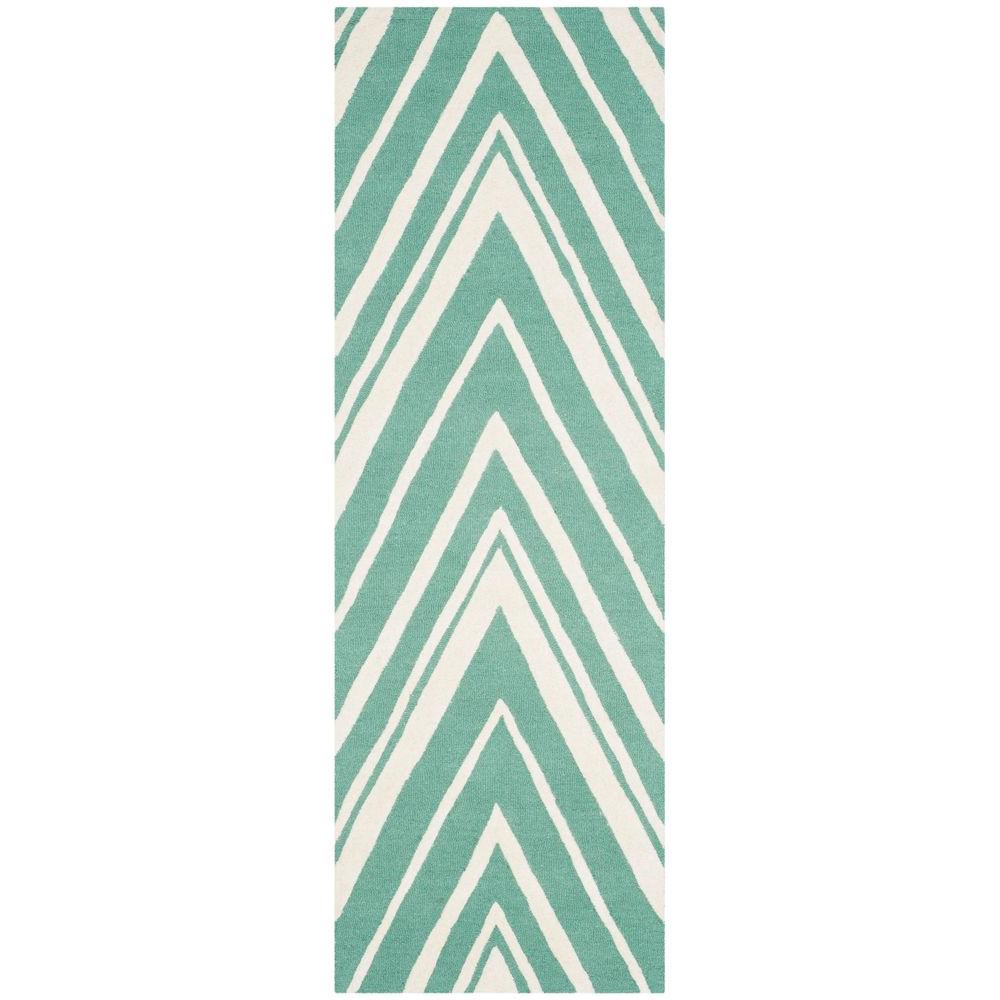 Safavieh Cambridge Teal Ivory 3 Ft X 6 Ft Runner Rug
