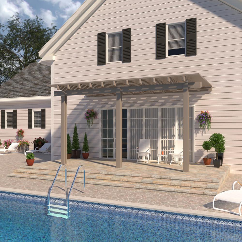 14 ft. x 10 ft. Adobe Aluminum Attached Open Lattice Pergola with 3-Posts  Maximum Roof Load 10 lbs.
