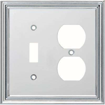 Silverton 2-Gang Switch and Duplex, Polished Chrome