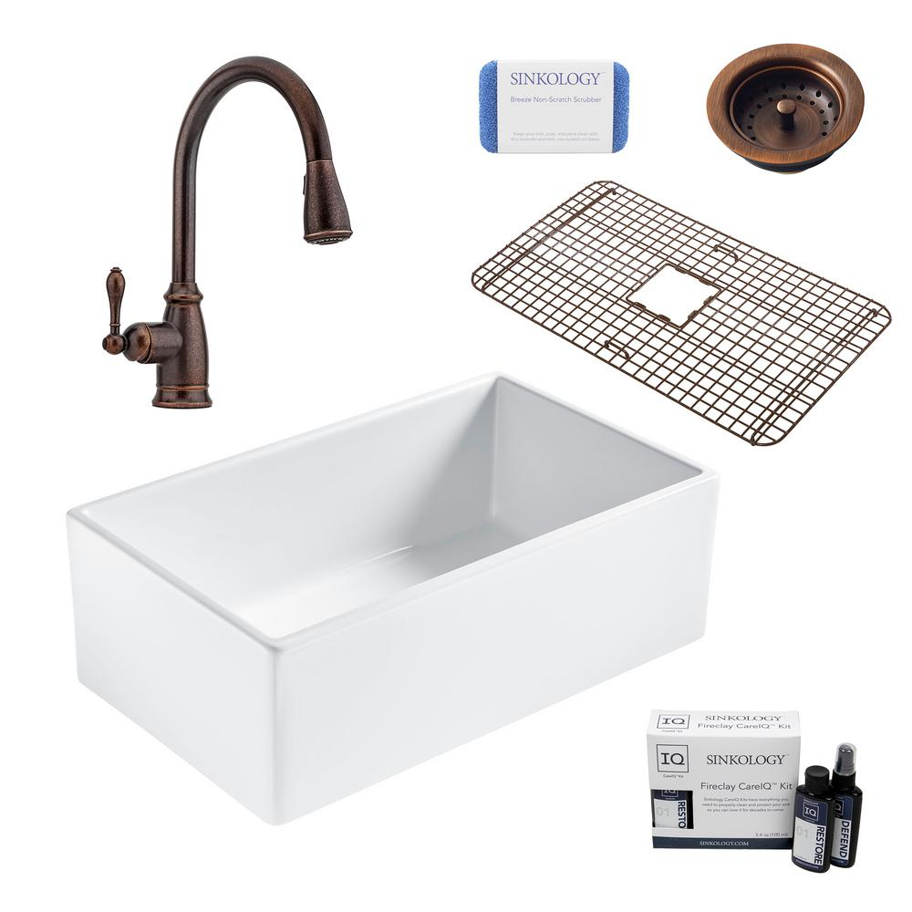 SINKOLOGY Bradstreet II All-in-One Farmhouse Fireclay 30 in. Single Bowl Kitchen Sink with Rustic Bronze Faucet and Drain