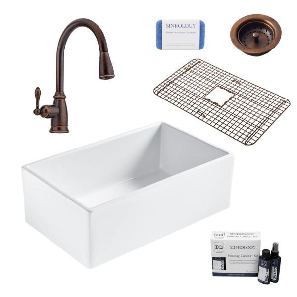 Bradstreet II All-in-One Farmhouse Fireclay 30 in. Single Bowl Kitchen Sink with Rustic Bronze Faucet and Drain