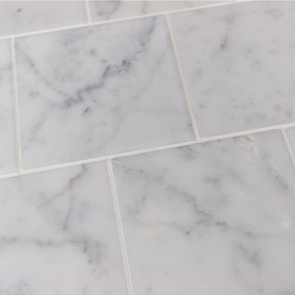 Splashback Tile Brushed Asian Statuary Marble Floor and Wall Tile