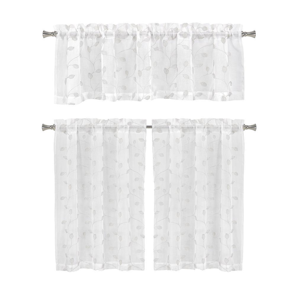 Kira White Kitchen Curtain Set - 56 in. W x 15 in. L in (3-Piece)