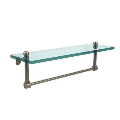 16 in. L  x 5 in. H  x 5 in. W Clear Glass Vanity Bathroom Shelf with Integrated Towel Bar in Antique Pewter