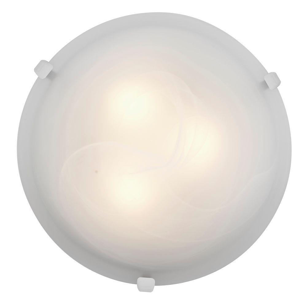 Mona 2-Light White Flush Mount with Alabaster Glass Shade